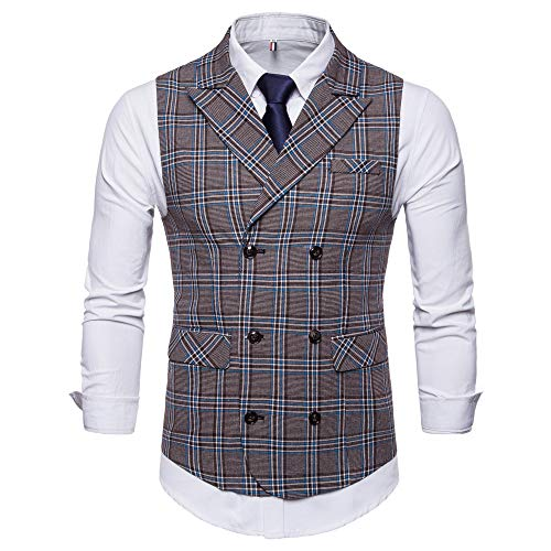 SMALLE ◕‿◕ Clearance,Men Plaid Casual Printed Sleeveless Jacket Coat British Suit Vest Blouse by SMALLE (Image #2)
