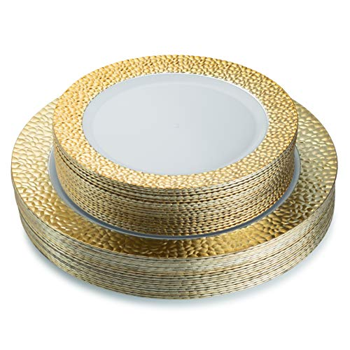 Hammered Plate - Posh Setting Hammered Collection Combo Pack China Look Gold and White Plastic Plates,(Includes 40 10.25'' Dinner Plates and 40 7.25'' Salad Plates), Elegant Disposable Dinnerware