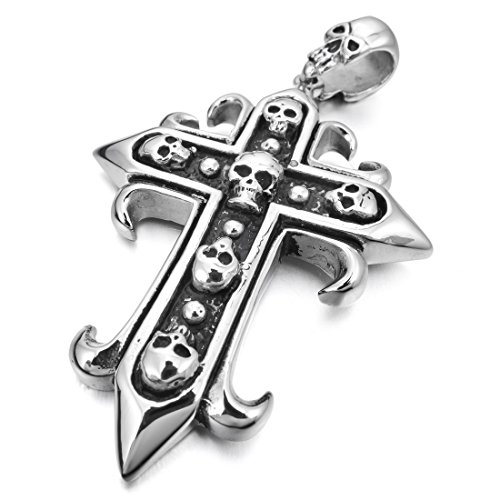 INBLUE Men's Stainless Steel Pendant Necklace Silver Tone Black Cross Sword Skull -With 23 Inch Chain