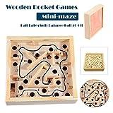 LuckyBB Wooden Math Block Toy Maze Beads Board Kids Balance and Hands Grasp Toy (Khaki)