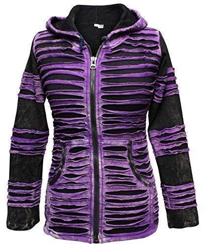 Cappuccio Moda Purple Giacca Coste Con Strappi Nero Donna Da Gotico fC7Hvx