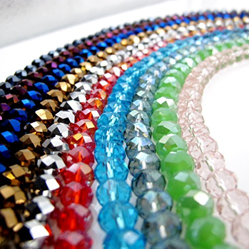 BRCBEADS Glass Crystal Beads Faceted Rondelle Shape 4x6mm 800pcs Mixed Color US Seller(Gauranteed to be delivered in 5 business days in US)