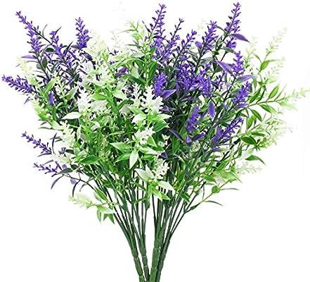 Huaesin 4 Packs 7 Heads Artificial Lavender Flowers Purple White Plastic Faux Flowers Arrangements Decor For Diy Wedding Bouquet Indoor Outside Garden Amazon Sg Home