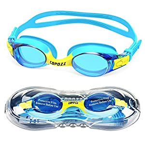 Kids Swimming Goggles,COPOZZ Child (Age 4-12) Waterproof Swim Goggles With Clear Vision Anti Fog UV Protection No Leak Soft Silicone Frame And Strap for Kid Boys Girls and Early Teens