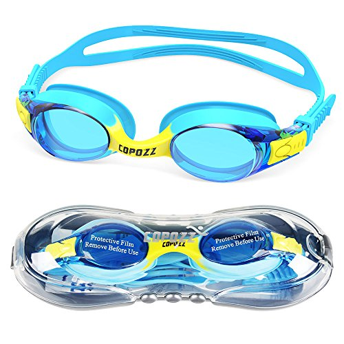 Kids Swimming Goggles,COPOZZ Child (Age 4-12) Waterproof Swim Goggles With Clear Vision Anti Fog UV Protection No Leak Soft Silicone Frame And Strap for Kid Boys Girls and Early - Boys For Goggles