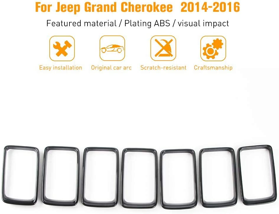 Black JeCar Front Grill Grille Inserts for 2014-2016 Jeep Grand Cherokee 7Pcs