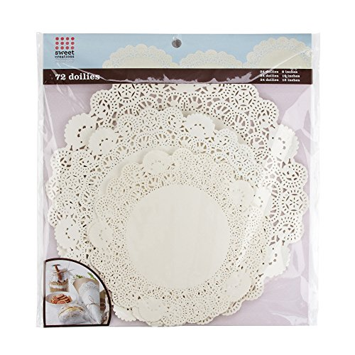 Sweet Creations 72 Count Round Lace Paper Doilies,