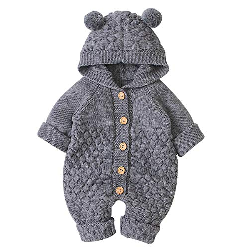 SANON Baby Pasgeboren Oor Hooded Gebreide Jumpsuit Peuter Overalls Eendelige Romper Snowsuit Bodysuit voor Jongen Meisje