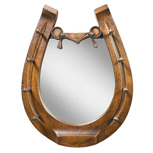 Horseshoe Mirror - Brushed Wood by Black Forest Decor