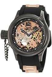 Invicta Men's 1847 Russian Diver Left Handed Mechanical Skeleton Dial Black Polyurethane Watch