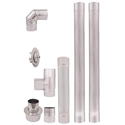 Tubos de escape de estufa pellets acero inoxidable 80mm AISI304 Revestimiento chimenea recto 90°Codo
