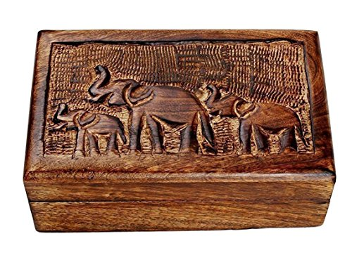 Store Indya Country Style Wooden Jewelry Trinket Keepsake Storage Box Organizer Multipurpose with Hand Carved Elephant Design