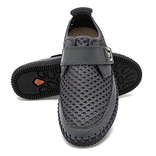 di Uomo liscia scarpe Mocassini pelle Gomnear casual Grigio loafers wxv1qPWT