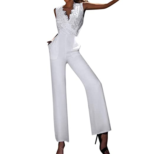 5aee7db933be8 Amazon.com: Carood Backless Women Sleeveless Lace V Neck Patchwork ...