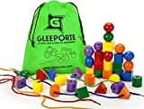 GLEEPORTE Jumbo Stringing & Lacing Bead Set - 36 Plastic Beads, and 4 Thread Strings, with a Tote Bag for Toddlers and Babies - Montessori Occupational Therapy Fine Motor Skills Sorting Toys,Autism