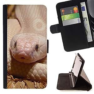 BullDog Case - FOR/Sony Xperia Z3 D6603 / - / snake reptile white pink nature desert /- Monedero de cuero de la PU Llevar cubierta de la caja con el ID Credit Card Slots Flip funda de cuer