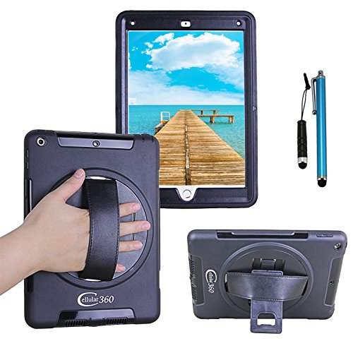 Cellular360 Apple iPad 9.7, iPad 5th 2017 Shockproof Case with 360 Degrees Rotatable Kickstand and Leather Hand Strap (Leather Hand Strap)
