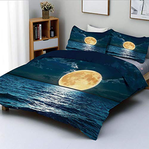 Duplex Print Duvet Cover Set Queen Size,Magical Super Moon Over Ocean Surface Midnight View Dreamy Mystic Picture PrintDecorative 3 Piece Bedding Set with 2 Pillow Sham,Yellow Navy,Best Gift for Kids ()