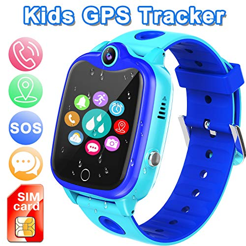 Waterproof Smart Watch for Kids, Activity GPS Tracker Digital Wrist Watch Phone Built in SIM Card SOS Alarm Clock Voice Chat Smartwatch for Kids Age 3-12 Electronic Learning Birthday Xmas (Blue)