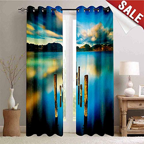 Hengshu Turquoise Room Darkening Wide Curtains Surreal Landscape with Wood Deck and Clouds in Sky Dreamlike Coastal Charm Waterproof Window Curtain W72 x L96 Inch Turquoise White