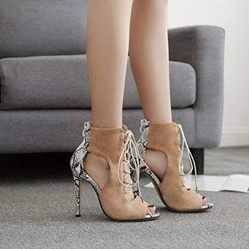 de piel sandalias satén alto serpiente de de costura apricot de tacón ZHZNVX correas tacón de Mujer zapatos vUx1OzIqYI