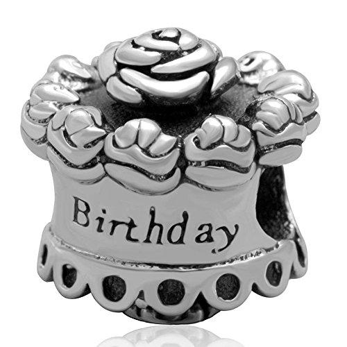 Choruslove Happy Birthday Cake Charm with Flower Antique 925 Sterling Silver Bead for European Bracelet Birthday Cake Charm