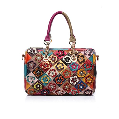Women's Soft Lambskin Leather Satchel Multicolor Flower-art Crossbody Tote Bag