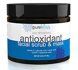 Organic & Natural Antioxidant Facial Cleanser, Exfoliating Scrub and Moisturizing Face Treatment Mask With Vitamin C, Hyaluronic, Lactic & Glycolic Acids - Minimizes Pores, Hydrates & Smooths Skin