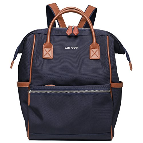 Let It Be Small Outdoor Doctor Style Travel Backpack Work Pack Casual Day Bag Waterproof Travel Rucksack Urban Day Backpack for Women Dark Blue + Brown Trim | Small Size