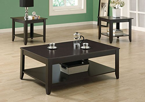 Teak Dining Set Rectangular Table (Monarch Specialties 3-Pc Promotional Occasional Table Set)