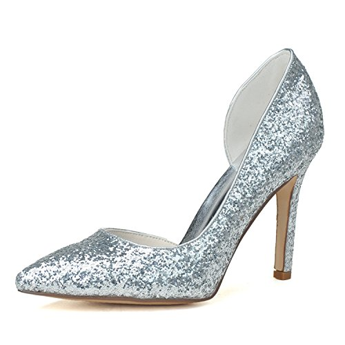 Clearbridal Women's Pointed Toe Flash Material Wedding Shoes and Prom Shoes ZXF0608-11 Silver