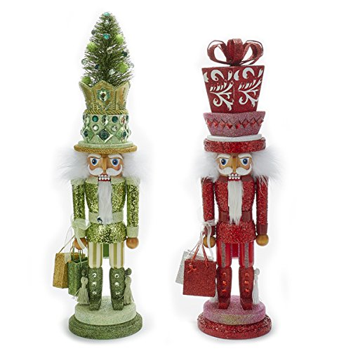 Kurt Adler Hollywood 1 Set 2 Assorted Green And Red Tree And Present Christmas Nutcrackers