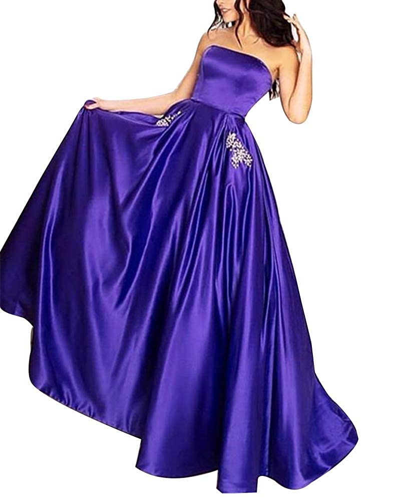 Purple Stylefun Women's Satin Prom Dresses Long Strapless Formal Gowns with Beaded Pockets Lace Up Back BD032