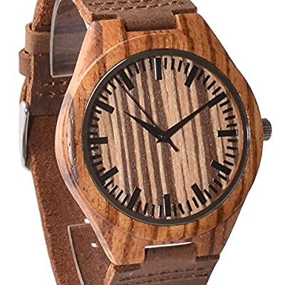 Tamlee Fashion Walnut Wooden Watch for Men Quartz Analog Clock with Leather Strap Japanese Movement