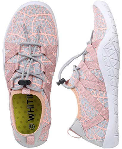 (WHITIN Women's Quick Drying Water Shoes for Aqua Hiking Trail Running Sport Minimalist Barefoot Wave Walking Beach Swim Surf Outdoor Kayaking Athletic Female Ladies Pink Size 8.5)