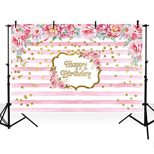 - MEHOFOTO Photo Studio Background Pink Stripe Red Rose Flower Happy Birthday Backdrops Photography 8ftx6ft