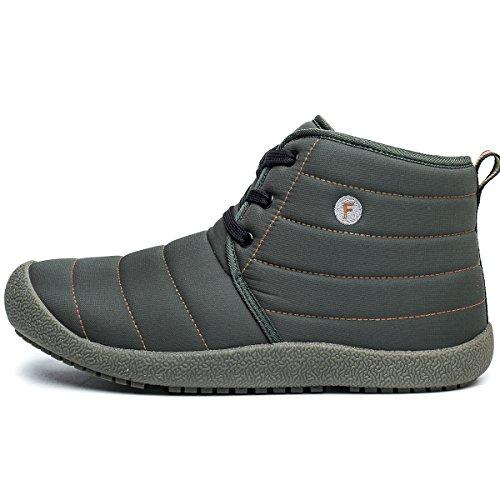 CIOR Herren und Damen Schneeschuhe Fell Gefüttert Winter Outdoor Slip On Schuhe Stiefeletten 4. Grau / High Top