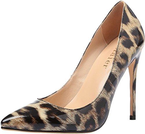 Leopardo Caelse Donna Col Calaier A 12cm Scarpe Spillo Scivolare Taglie Calzature Tacco Su 46 Eu Vernice 34 HaSq5