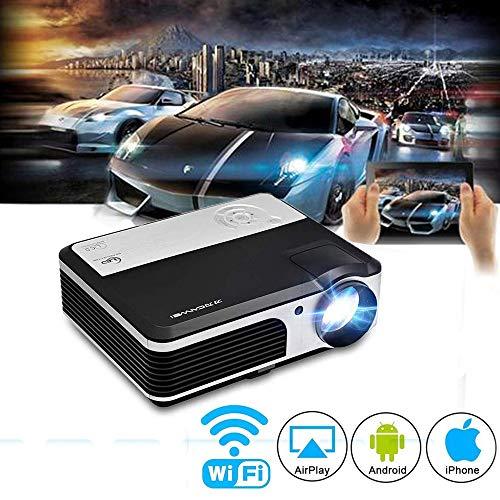 [해외]Wi-Fi 프로젝터 3900 루멘 1280 * 800 1080P 풀 HD 지원 LED 무선 연결 대형 화면 확대 기능 홈 시어터 iPhoneipadAndroid 헤매고PCMacPS3PS4WII XBOX 연결 가능 USBHDMIAVVGA 포트 키스톤 보정 HDMI 케이블 제공 3 년 보증 / Wi-Fi Projector 3900 ...