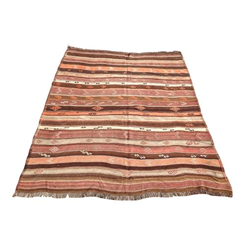 Vintage Turkish Kilim Rug - 5′6″ × 6′11″
