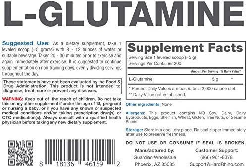 Hard Rhino L-Glutamine Powder, 1 Kilogram 2.2 Lbs , Unflavored, Lab-Tested, Scoop Included