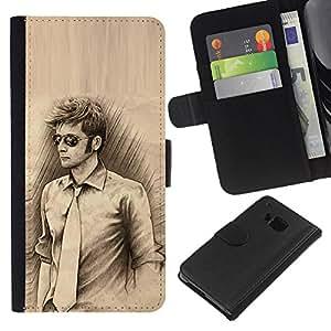 All Phone Most Case / Oferta Especial Cáscara Funda de cuero Monedero Cubierta de proteccion Caso / Wallet Case for HTC One M7 // Man Tie Sunglasses Pencil Drawing Art Style