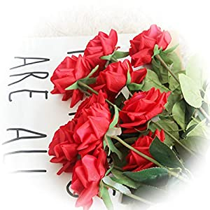 cn-Knight Artificial Flower 12pcs 17'' Artificial Rose Blossom with Leaves Gel Coated Silk Flower for Wedding Bridal Bouquet Bridesmaid Home Décor Office Baby Shower Centerpiece,Red 36