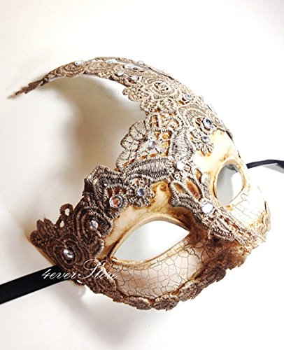 New! Toga Party Special - Venetian Goddess Masquerade Mask Made of Resin, Paper Mache Technique with High Fashion Macrame Lace & Rhinestones [Ivory] by BeyondGlobalCorp - Paper Mache Venetian Mask