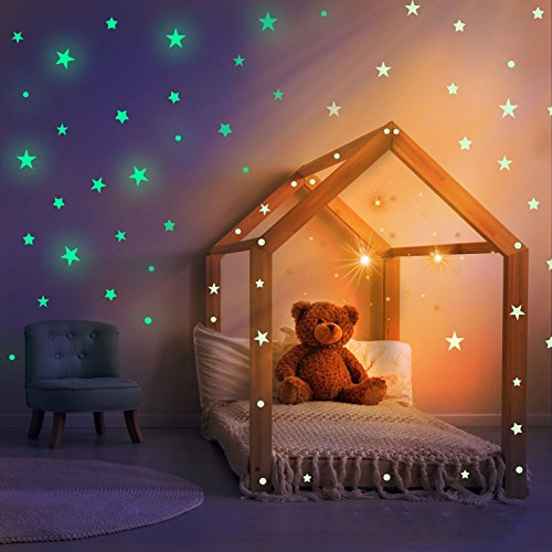 Funwill Glow In The Dark Stars For Ceiling Or Wall Stickers  Realistic 3D Wall Stickers Room Decor  Galaxy Glow Stars Set Solar System Decals For Kids Bedroom Decoration  Beautiful Birthday Gift