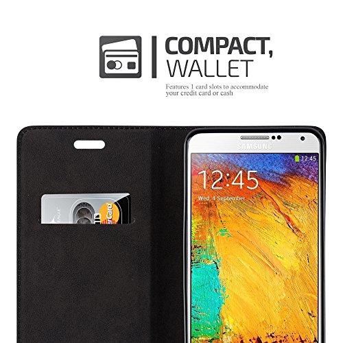 Cadorabo - Funda Book Style Cuero Sintético en Diseño Libro Samsung Galaxy NOTE 3 - Etui Case Cover Carcasa Caja Protección con Imán Invisible en TURQUESA-PETROL MARRÓN-CAFÉ