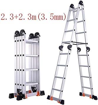 Escalera telescópica, Multifunción escalera plegable, de aluminio de múltiples funciones escalera portátil telescópica, Apto for interiores y exteriores 150 kg Teniendo (Color : 2.3+2.3m(3.5mm)): Amazon.es: Bricolaje y herramientas