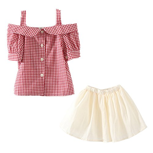 [LittleSpring Little Girls' Skirt Set Plaid Buttons Size Size 7 Red-plaid] (Halloween Outfits For Little Girls)