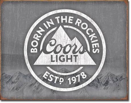Desperate Enterprises Coors Light Born in The Rockies Beer Tin Sign 16 X 12 (Decorative Beer Signs)