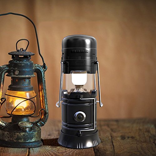 A solar bluetooth speaker in the shape of a lantern